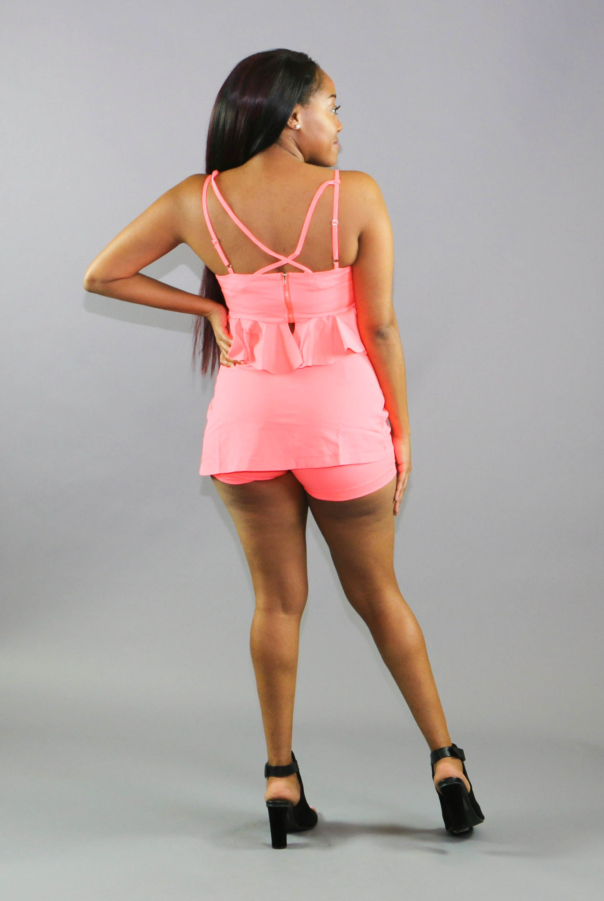 Ruffled Peplum Short Set