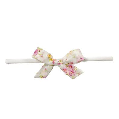 Pink Floral Cotton Print Bow