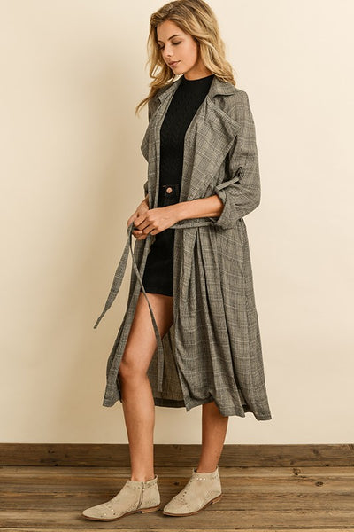 Glen Plaid Trench Coat