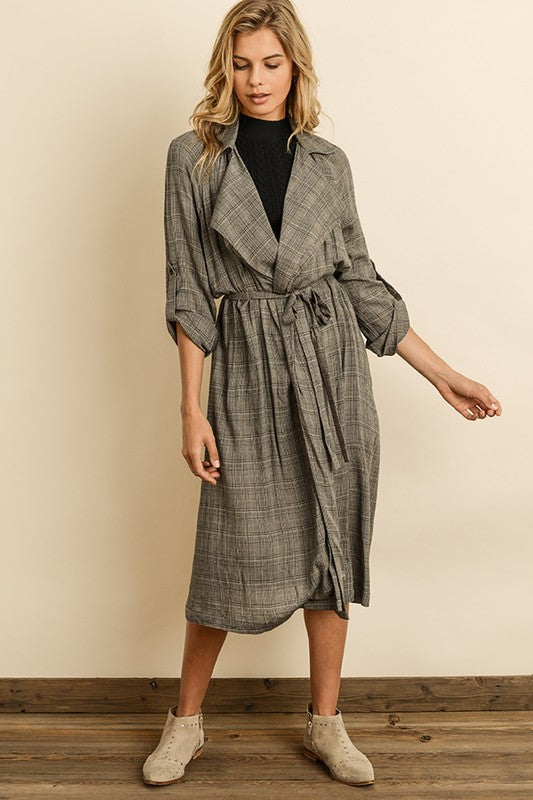 Glen Plaid Trench Coat - ShopTheCue