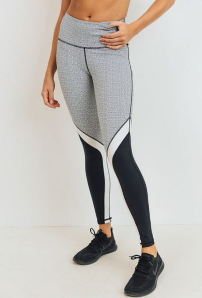 Static Pattern Print Block Leggings - ShopTheCue