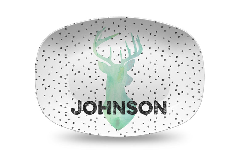 Deer with dots Personalized Platter