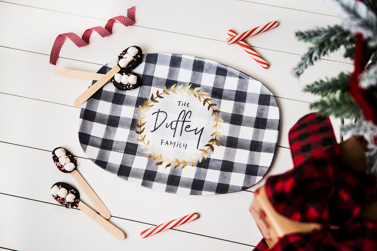 Black and White Plaid Personalized Platter