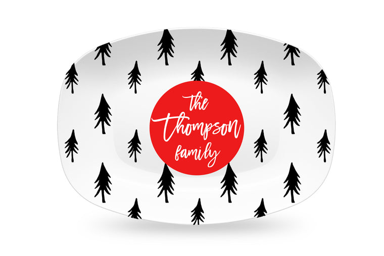 Modern Black and White Christmas Trees Personalized Platter