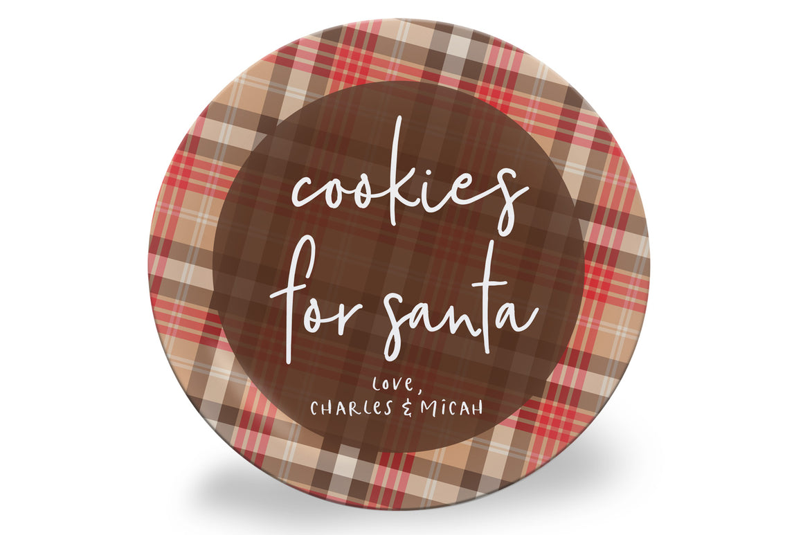Red + Brown Plaid Cookies for Santa Personalized Plate