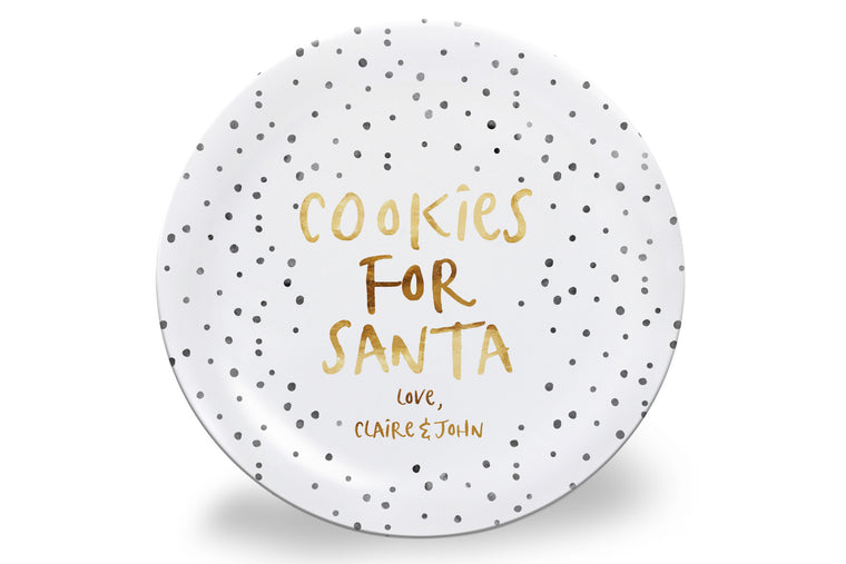 Black Dots Cookies for Santa Personalized Plate
