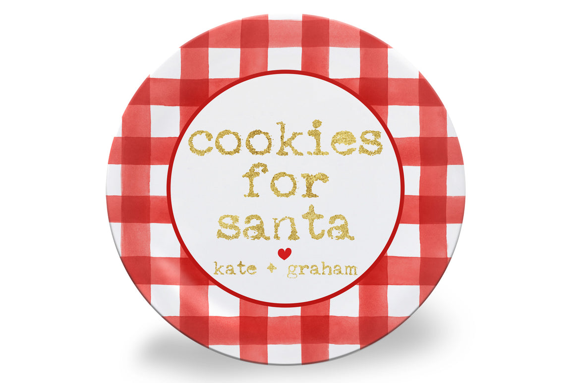 Red Gingham and Gold Glitter Cookies for Santa Personalized Plate