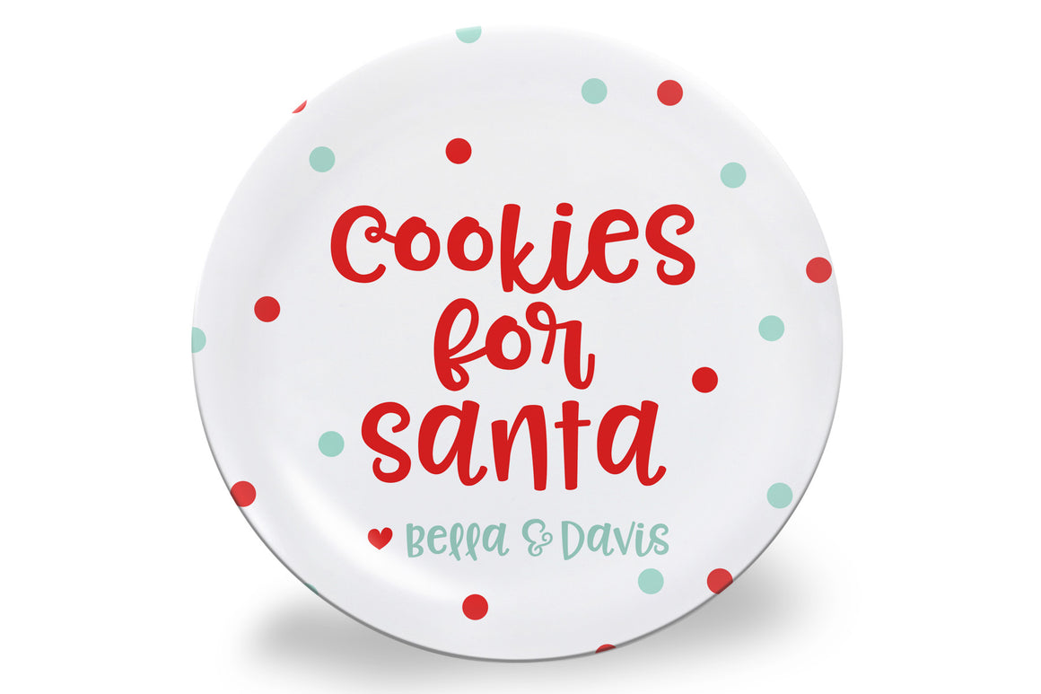Mint + Red Dot Cookies for Santa Personalized Plate