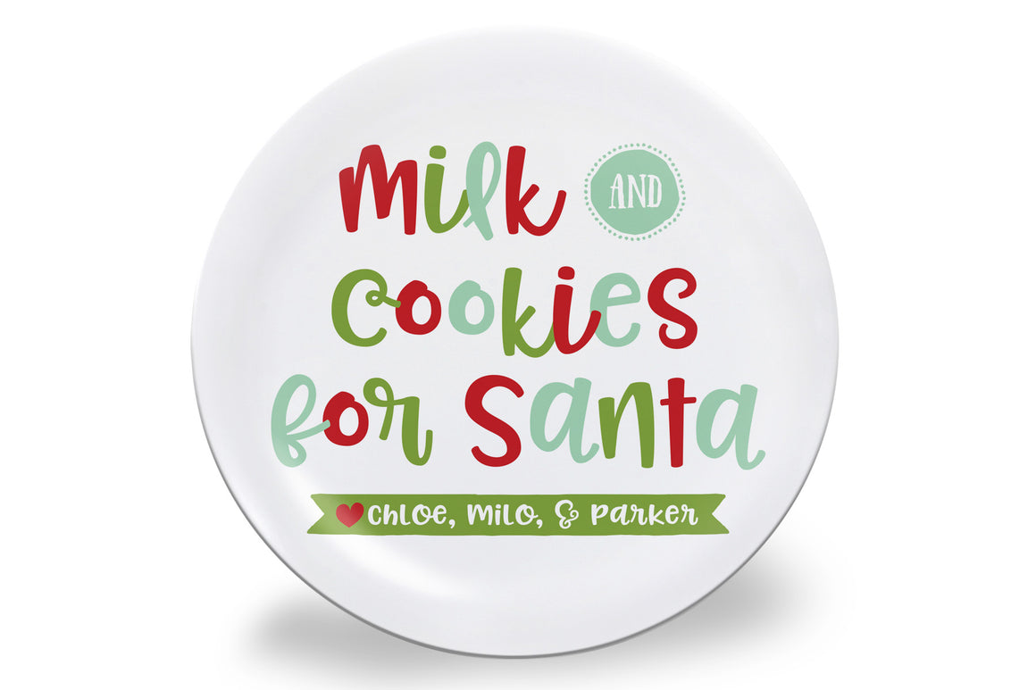Mint, Red, and Green Cookies for Santa Personalized Plate