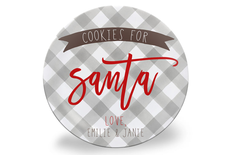 Tan Gingham Cookies for Santa Personalized Plate