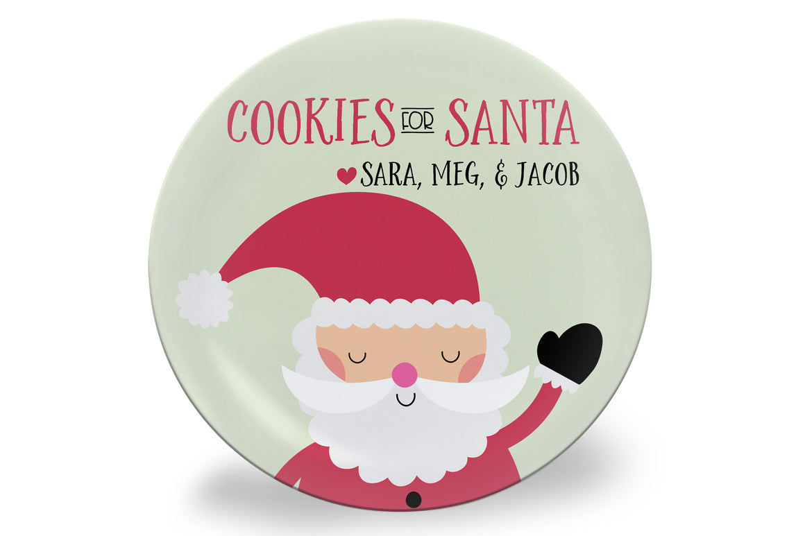 Santa Claus Cookies for Santa Personalized Plate