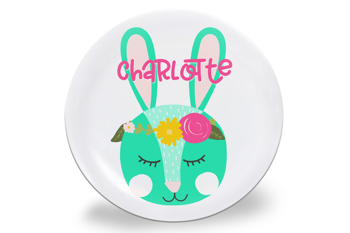 Easter Floral Crown Bunny Personalized Plate
