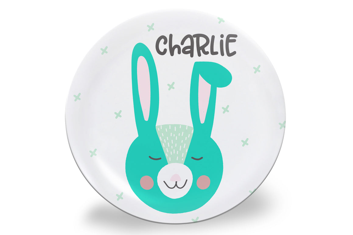 Easter Blue Bunny Face Personalized Plate