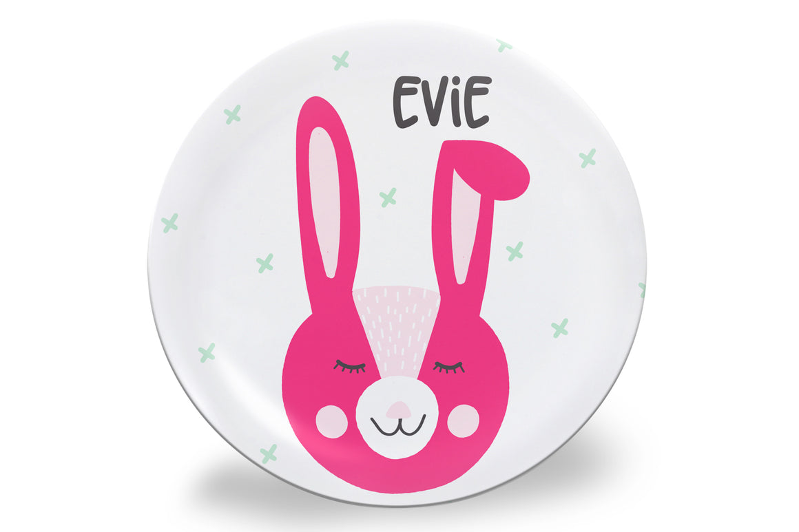 Easter Pink Bunny Face Personalized Plate