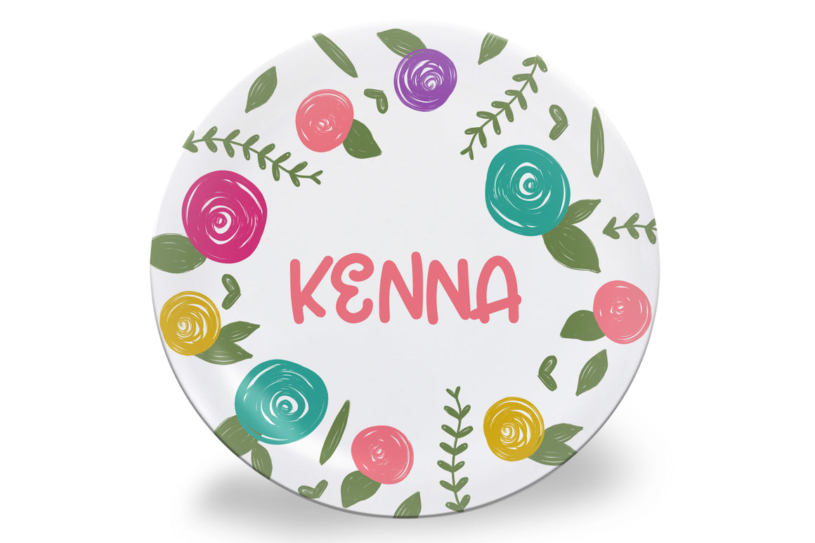 Spring Colorful Roses Personalized Plate
