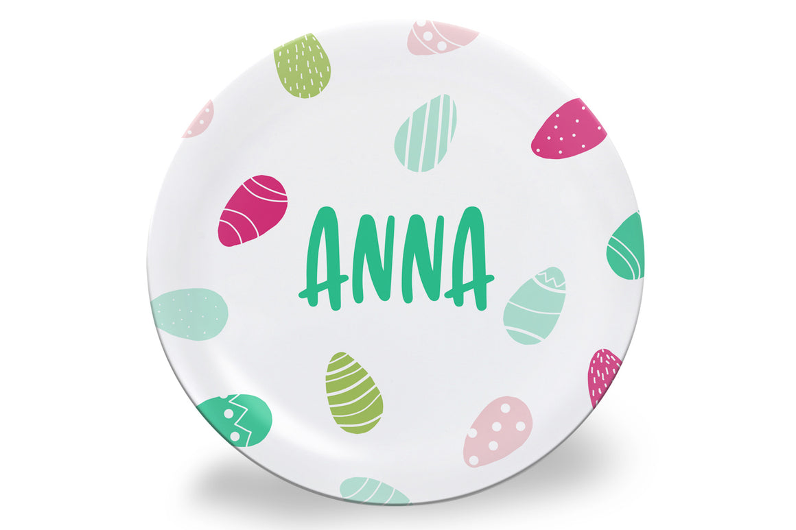 Pink + Blue Easter Eggs Personalized Plate