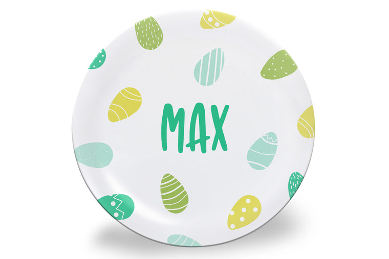 Green + Blue Easter Eggs Personalized Plate