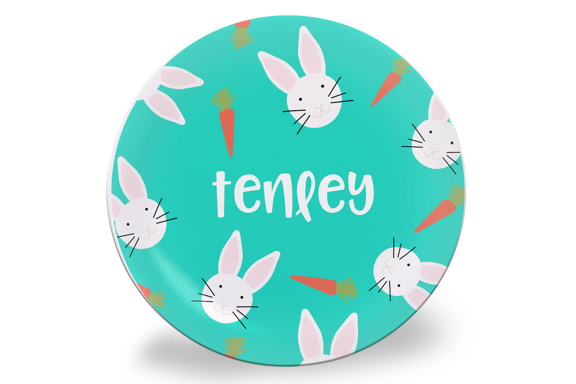Mini Easter Bunny + Carrots Personalized Plate