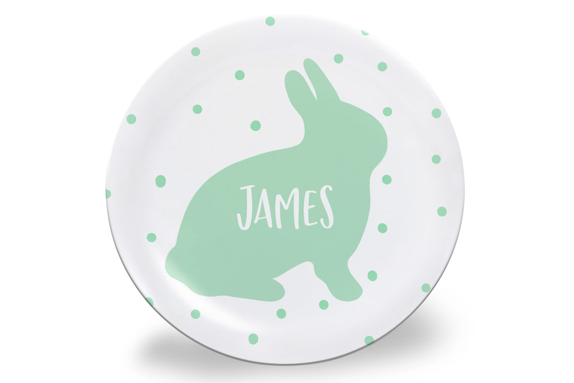 Mint Dot Easter Bunny Personalized Plate