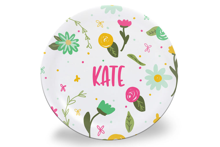 Spring Fun Floral Personalized Plate