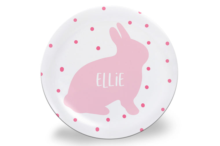 Pink Dot Easter Bunny Personalized Plate