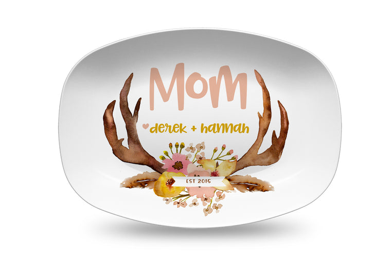 Mother's Day Antlers Personalized Platter