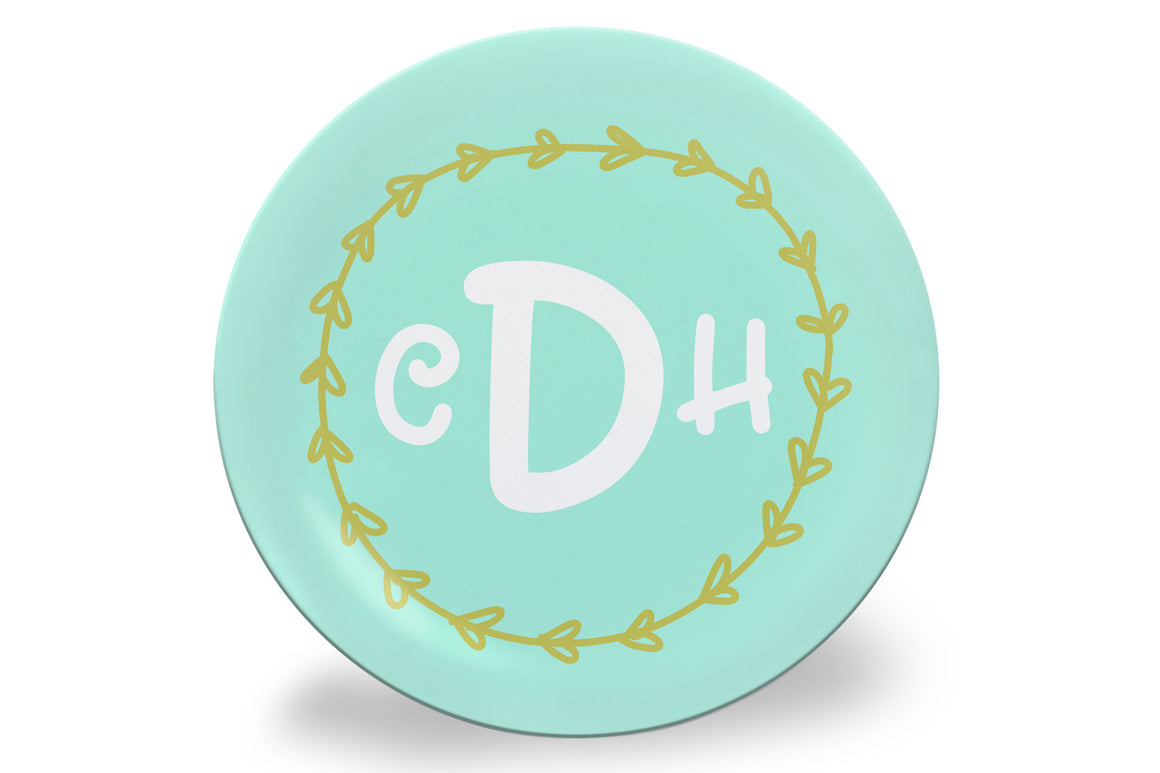 Blue Monogram Wreath Personalized Plate