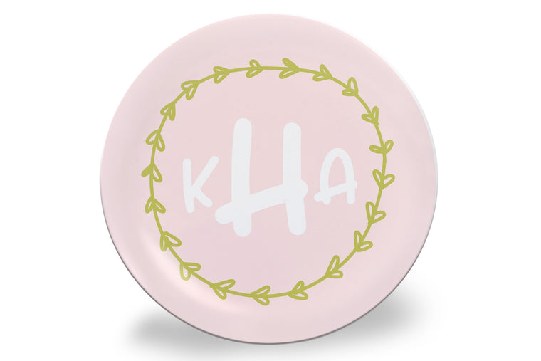 Pink Monogram Wreath Personalized Plate