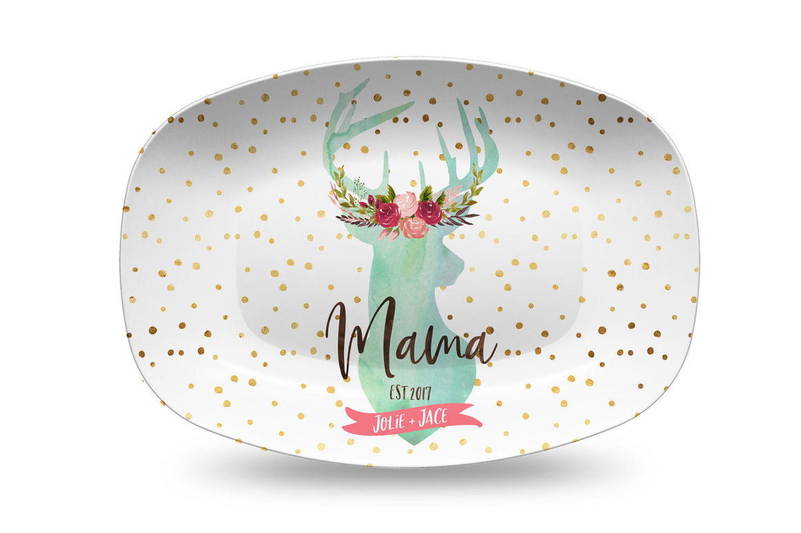 Mother Deer Personalized Platter