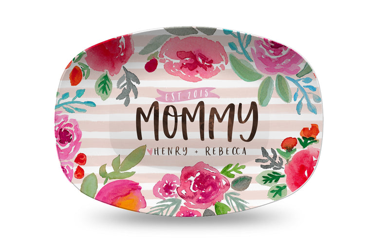 Mother's Day Watercolor stripe and floral Personalized Platter