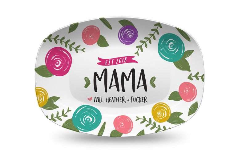 Mother's Day Multi Floral Personalized Platter