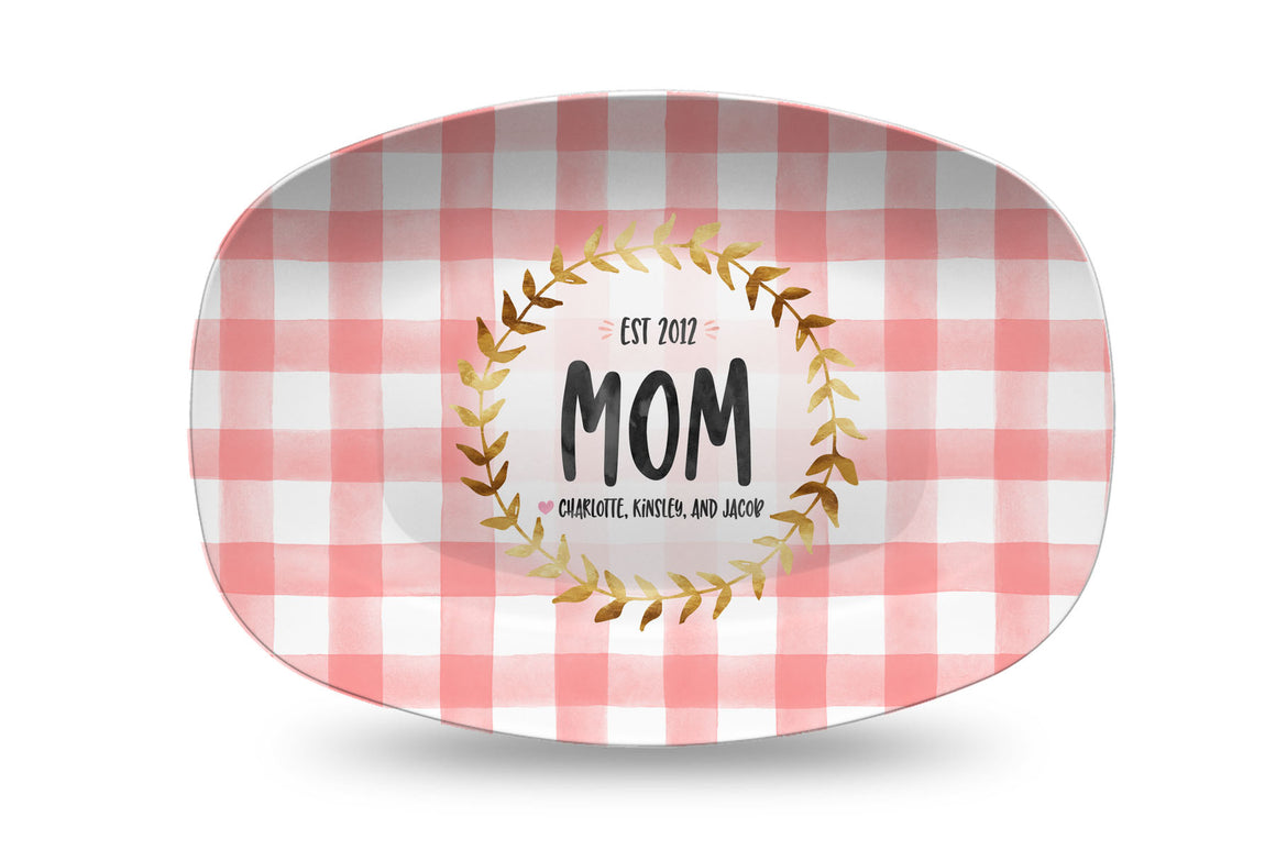 Mother's Day Pink Gingham Personalized Platter