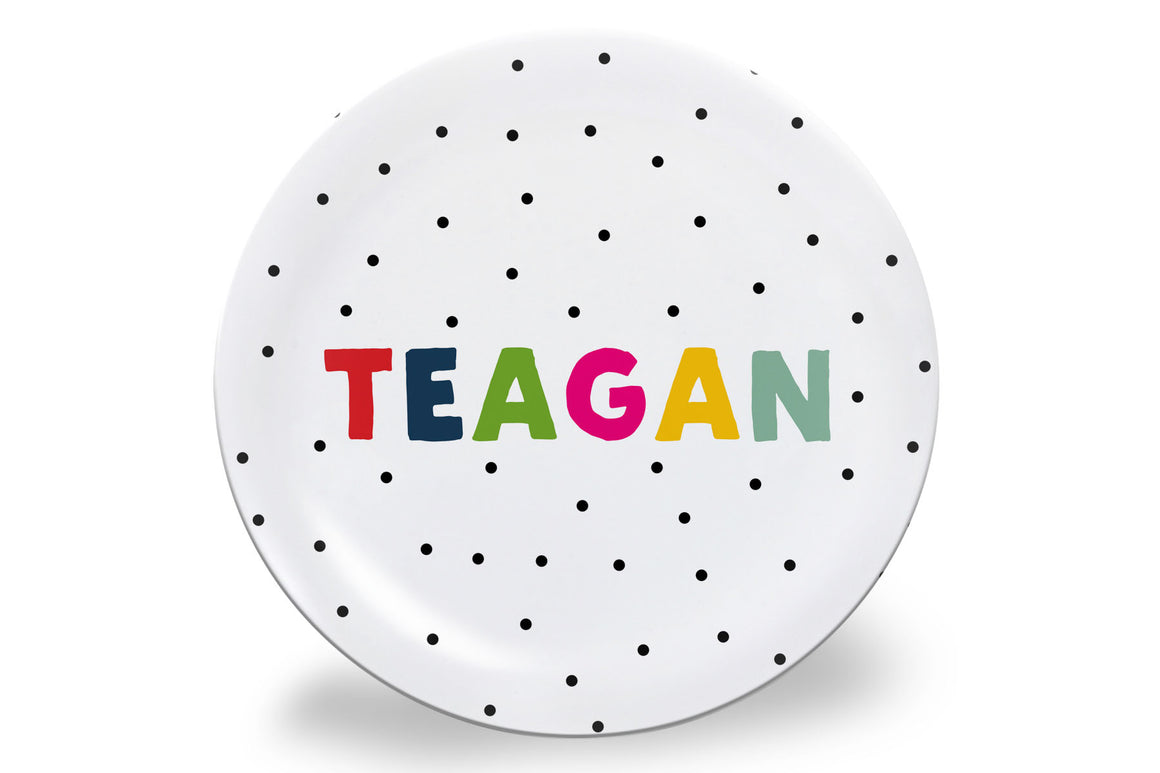 Black Dot + Rainbow Letters Personalized Plate