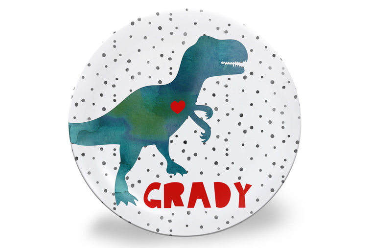 Valentine's Dinosaur Personalized Plate