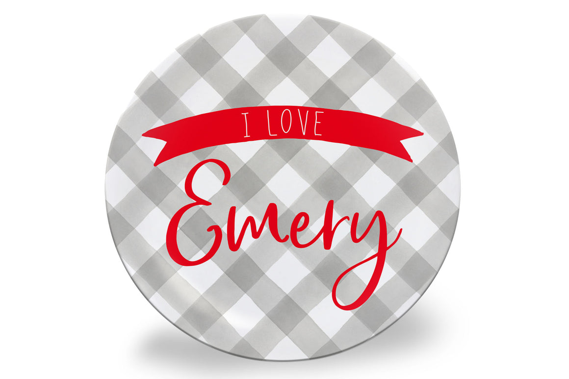 Valentine's Day Grey Gingham Personalized Plate