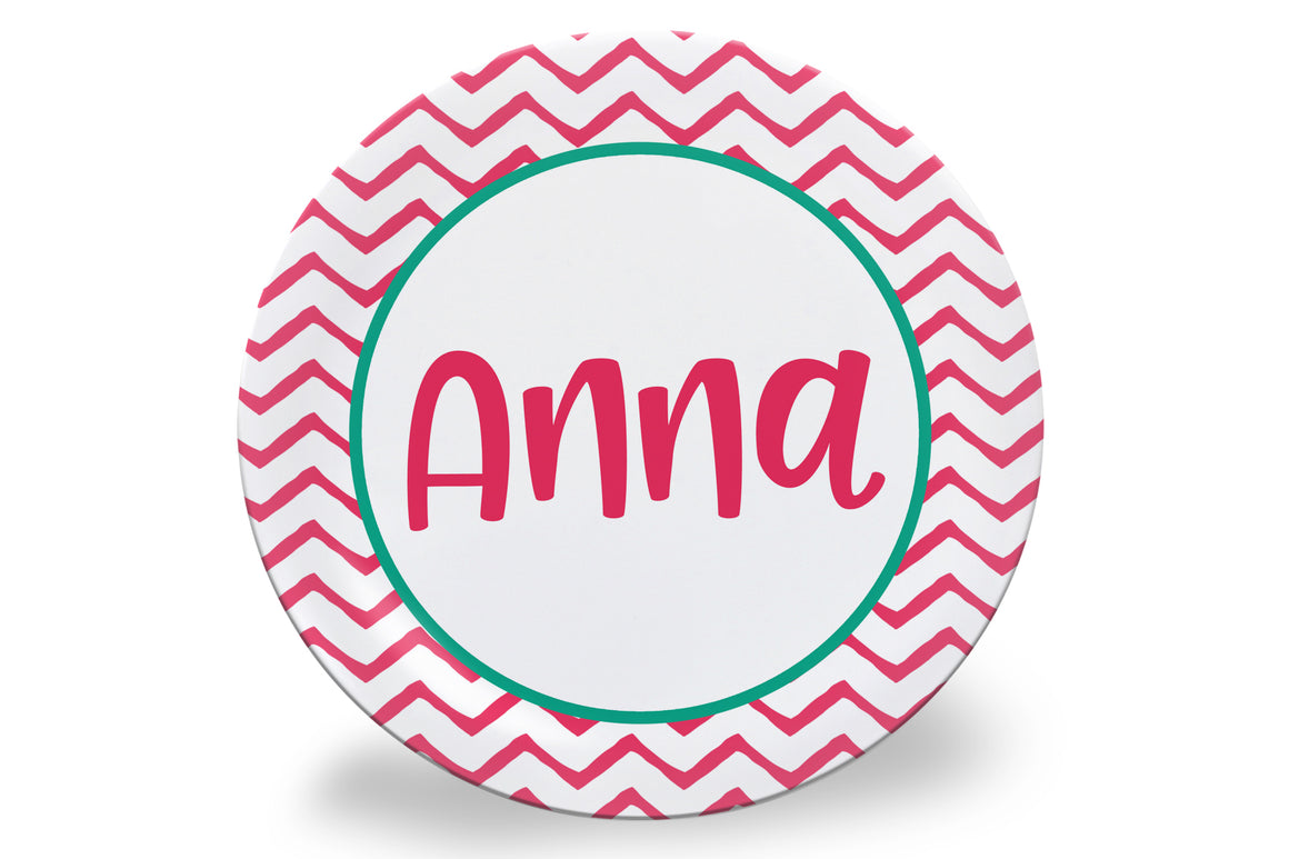 Pink Chevron Personalized Plate