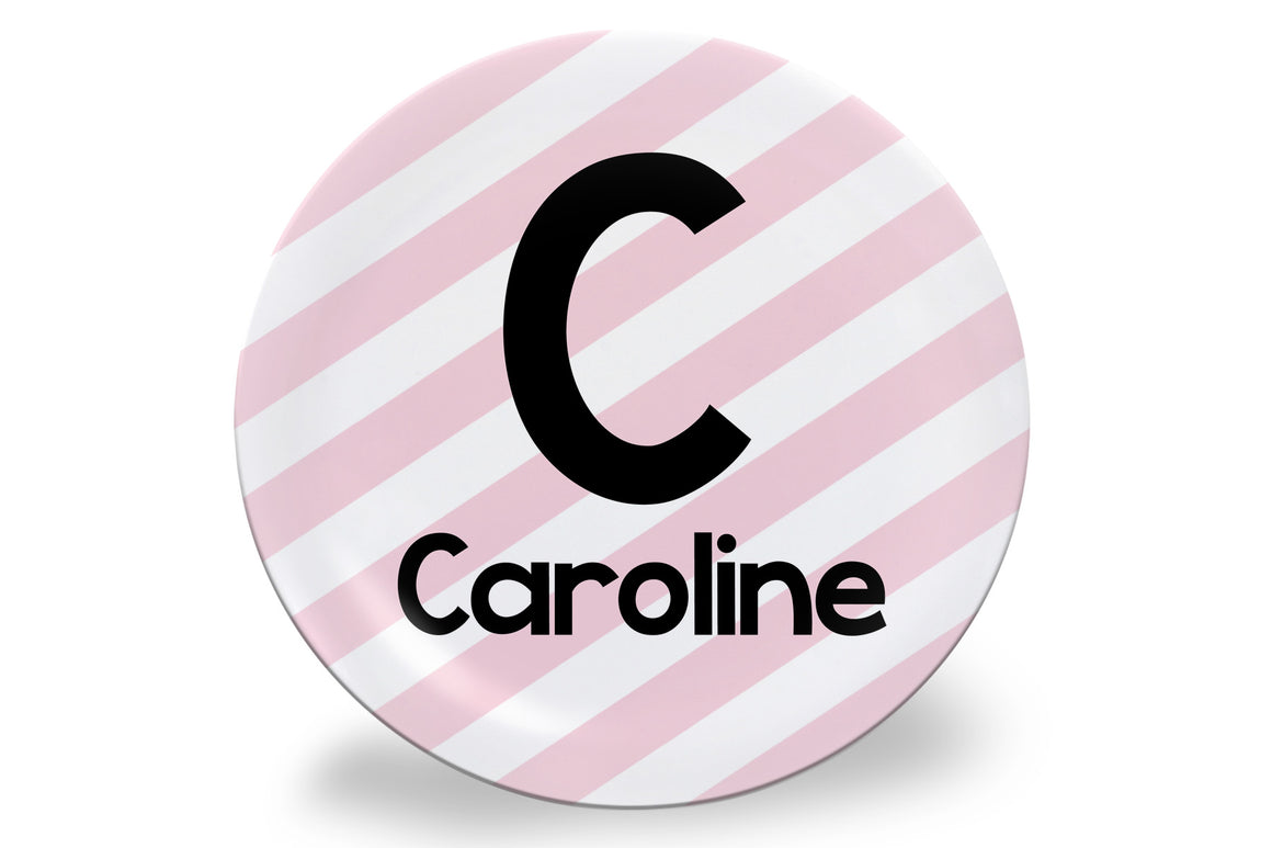 Pink Stripe Personalized Plate