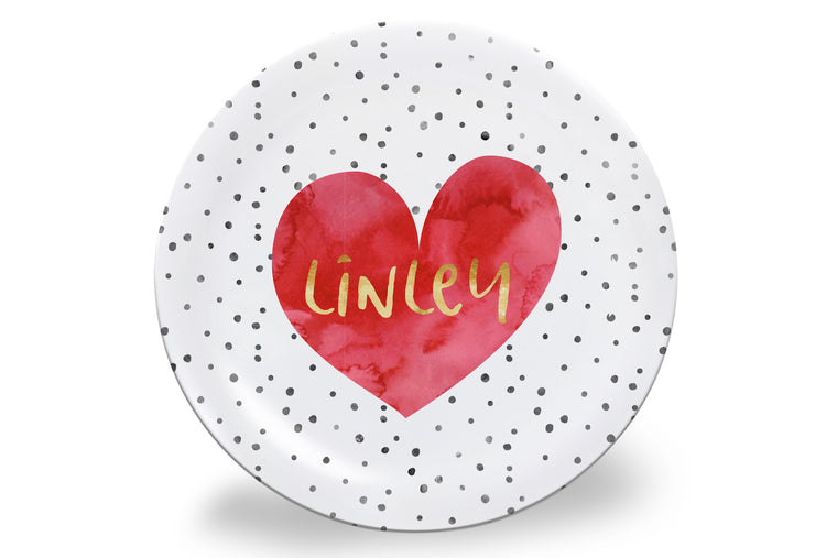 Watercolor Heart + Black Dot Personalized Plate
