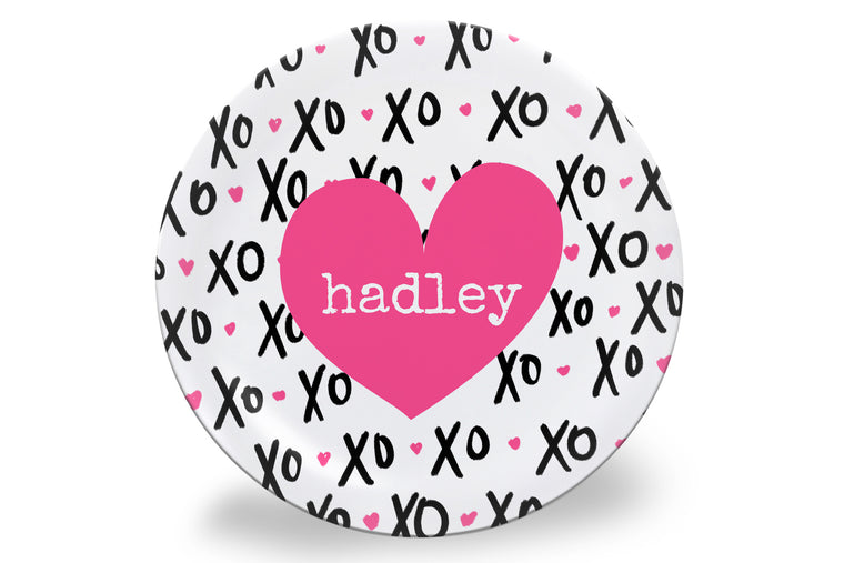 Valentine's Day XO (Pink) Personalized Plate