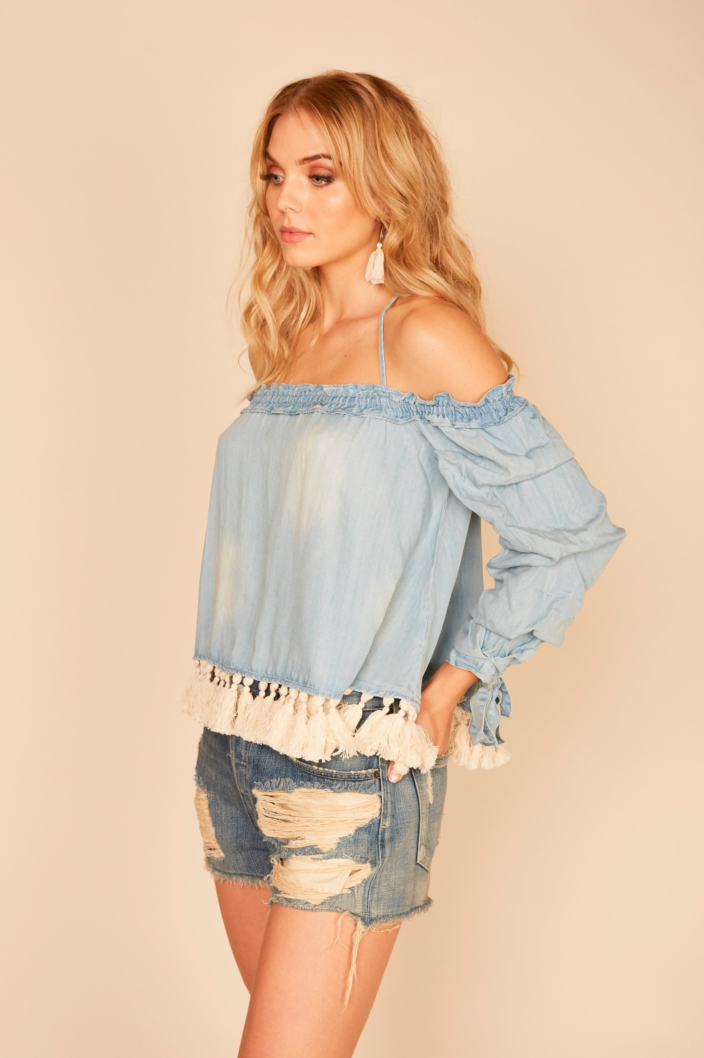 Ivory Chunky Tassel Cold Shoulder Top
