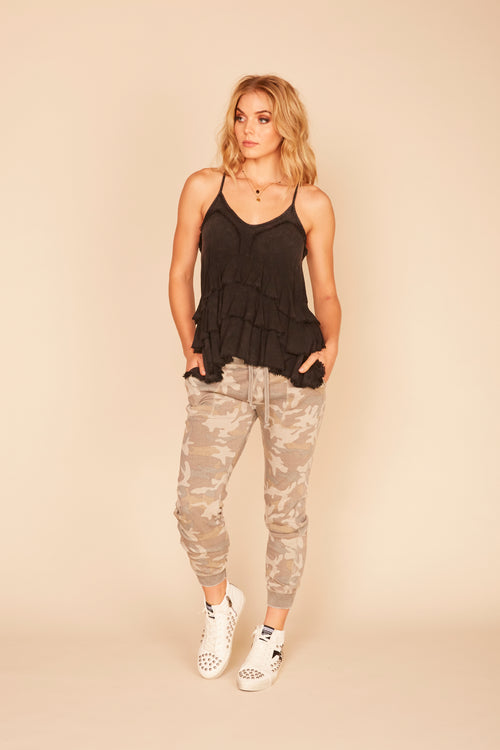 Charcoal Washed Ruffle Tier Tank