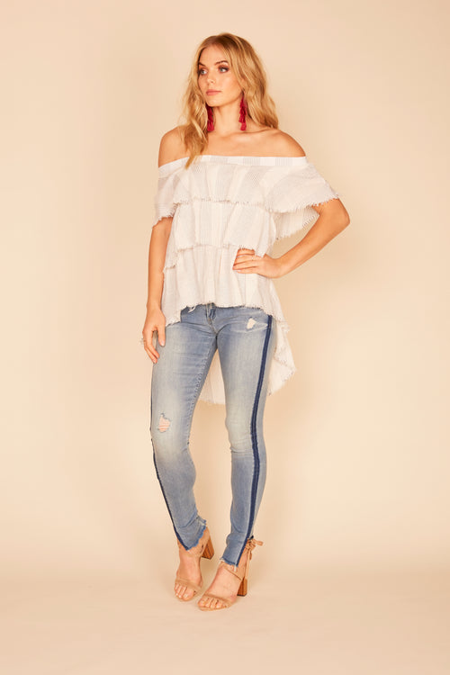 Stripe Ruffle HI-LO Top
