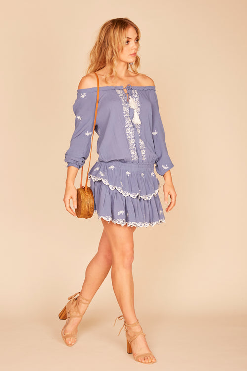 Embroidered Ruffle Dress - Denim