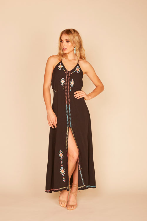 Surf Gypsy Tassel Halter Maxi Dress