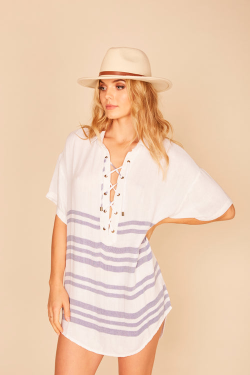 Stripe Lace Up Top - White/Indigo