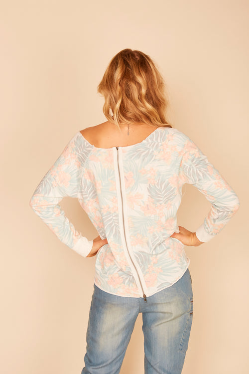 Hawaii Zip Back Burnout Pullover