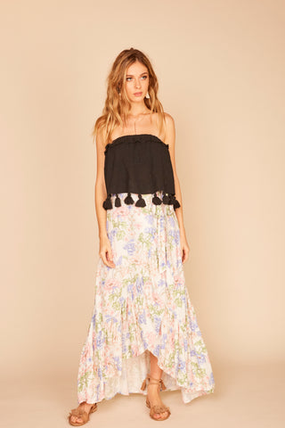 Printed Crochet Maxi Skirt