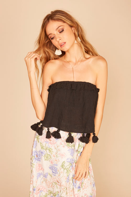 Chunky Tassel Trim Gauze Tube Top - Black