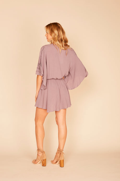 Embroidered Lace Up Mini Dress - Lavender