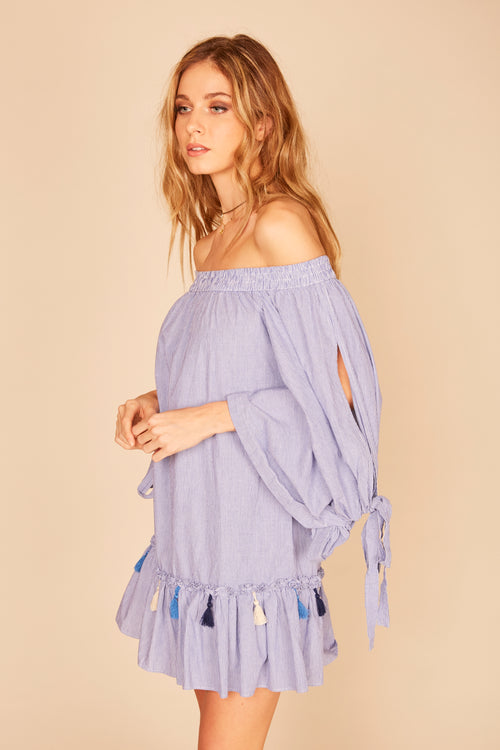 Striped Tie Sleeve Tassel Trim Dress
